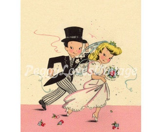 Wedding 27 a Cute Bride and Groom a Digital Image from Vintage Greeting Cards - Instant Download