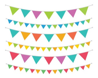 Carnival Rainbow Bunting Banner Clip Art Set | Flag String Party | Digital Illustration Stock Icons | Personal or Commercial Use
