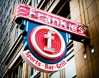 Fort Worth Texas - Neon Sign - Sundance Square - Frankie's Sports Bar and Grill