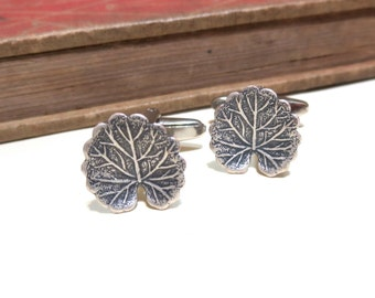 SALE Antiqued Silver Leaf Cuff Links - Cufflinks - lily pads - Round Leaf - Tree - Nature Natural CLEARANCE