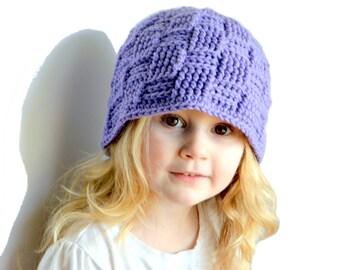 Toddler Girls Purple Hat, Bucket Hat, Purple Beanie, Womens hat, Girls Beanie, Basketweave beanie Girls textured hat Spring Beanie Baby Girl
