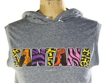 80s Santana Concert Shirt / Vintage 1980s Band Tour T-Shirt / Hippie Rocker Hoodie Tank Top Muscle Shirt / Women's Medium or Small