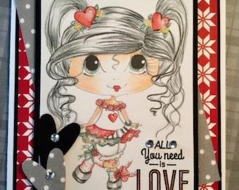 Handmade Hand Coloured Greeting Card