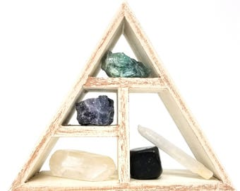 MENTAL CLARITY Crystal Healing Kit / Energy Stones and Crystal Display Shelf set in Gift Box / Office Gift  Third eye chakra - 31