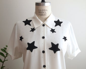 chemisier Vintage noir et blanc céleste étoiles