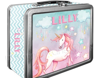 Unicorn Watercolor Classic Tin Lunch Box with or without Side Wrap | Back To School | Personalized | Image on Both Sides | Keepsake Box