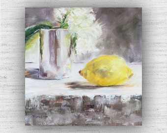 Lemon Painting Print of Still Life Oil Painting Flower Home Decor Wall Art - Kitchen Food Room Decor, Cottage Style Dining Room Art Print