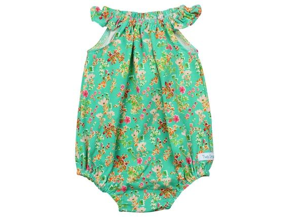 Baby Romper Green Flower Romper with Snaps Baby Romper Green Floral Romper Modern Baby Romper Flutter Sleeve Romper Knit Romper Wild Flower