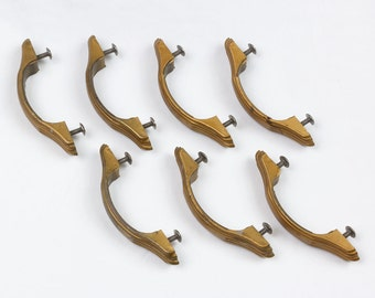 7 Brass Desk Handles Vintage 1930s to 1950s Sturdy, heavy Yellow gold color Curved Three symbolic claw design on each end