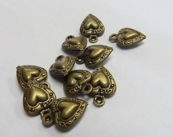 6 Tiny Bronze Antiqued Puffy Heart Charms