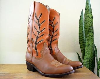70s Men's 10-10.5 D Vintage FRAVE'L Mexico Cowboy Boots Two-tone Brown Orange Leather Western