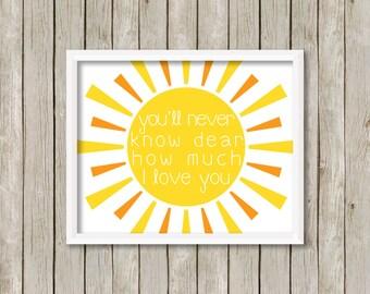 You Are My Sunshine Print, Sunshine Print, I Love You Print, Sunshine Nursery Print, Nursery Print, Nursery Decor (8x10)