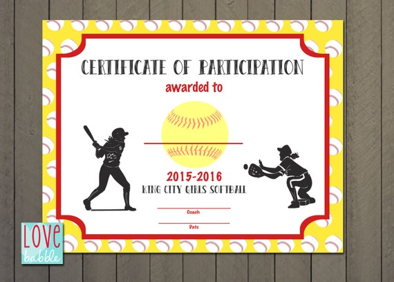 T Ball Award Certificates