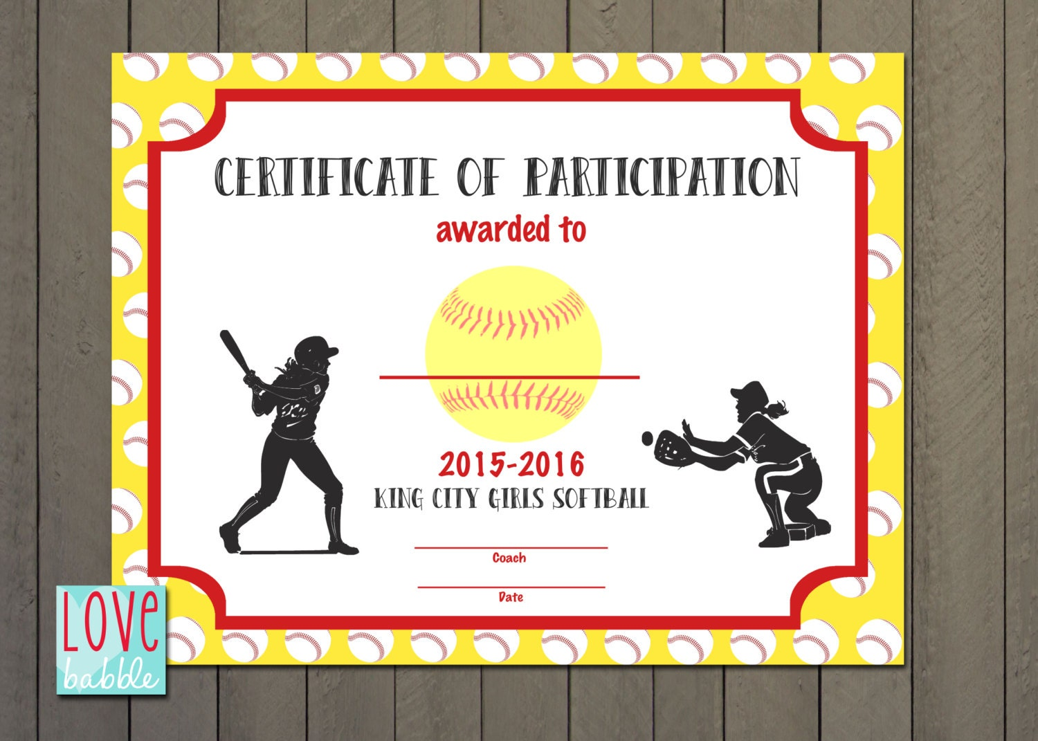 girls softball baseball t ball award certificate printable