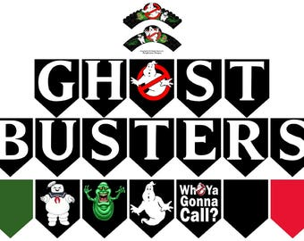 Ghostbusters Printable 20-pc Flag Party Banner & Wrapper Set in Ghostbuster Font-Ghostbusters Halloween Party Decorations-Instant Download