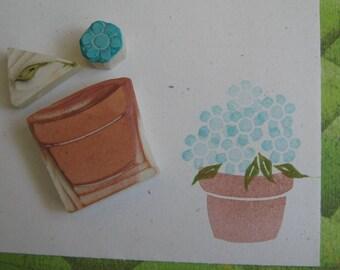 Flower Pot Rubber Stamp Set Hand Carved