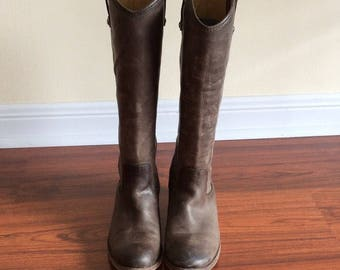 Frye Melissa Button Boots Brown Vintage Leather 10W Extended Calf