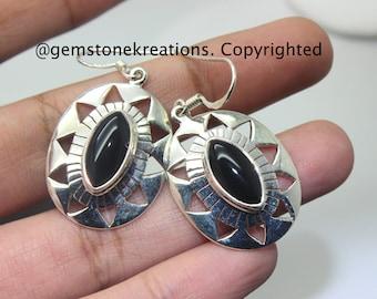Black Onyx Earrings , 925 Sterling Silver Ring, Gemstone Earrings, Crystal Earrings
