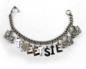 Collectible Tweetsie Train Silver Tone Charm Bracelet