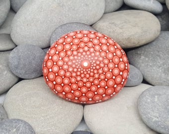 Mandala Stone - Red Meditation Stone - Mandala Rock - Painted Rock - Zen - Dotillism - Mandala Art - Rock Art