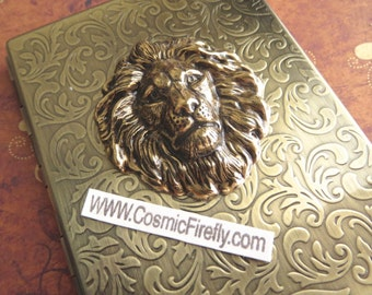 Cigarette Case Brass Lion Case Steampunk Wallet Gothic Victorian Antiqued Gold Brass Case Vintage Inspired Metal Case Fits 100's