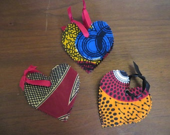 Small Or Medium Handmade African Fabric Heart Ornament Your Choice In Size
