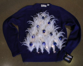 Ugly Christmas Holiday Sweater Dark Blue/White Feather Tree Womens Small or Childrens Large