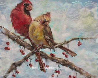 Bird Art, Spring Fever, limited edition print of cardinals on  branch in the spring. Red birds, cardinals, bird artwork, midwestern art