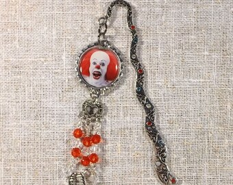Pennywise Bookmark Hook Style With Teeth And Heart Charm & Beads Pennywise It Creepy Clown Horror Movie