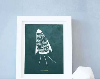 Kids Room Decor Rocket Ship Wall Art Green Teal Boys Albert Einstein Quote Artwork Nursery Decor Baby Children Rooms. Imagination Print