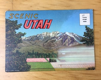 Linen Postcard Scenic Utah Folder Packet 1950 Travel Souvenir