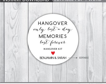 wedding hangover kit favor tags, wedding favor tags, hangover kit label, hangover kit tags, hangover lasts only a day, memories last forever