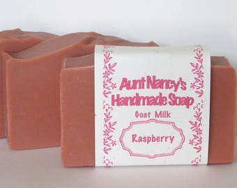 Raspberry Scented Homemade Soap - Creamy Goat Milk Soap Colored with Rose Clay - Cold Process Olive Oil Soap - No Palm Oil