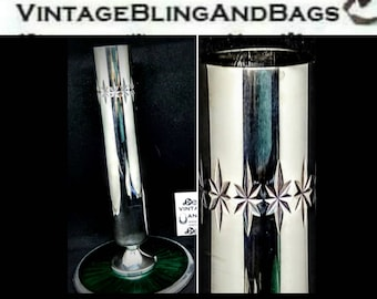 1950s 1960s CAVALIER Vintage midcentury modern vase, 17.5cm modernist vase, silver plated vase, modernist vase,  midcentury modern decor,