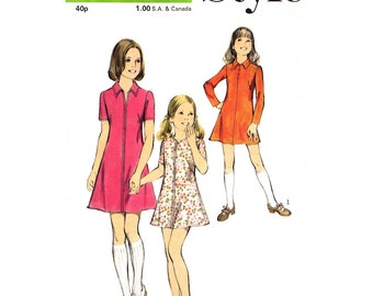 Dress Pattern for Girls Style 4100 Zipper Front Collar or Round Neckline Girls Size 10 Vintage Sewing Pattern