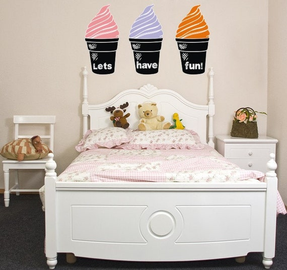 Chalkboard decals, Ice Cream Cones Decals, chalk board wall decal