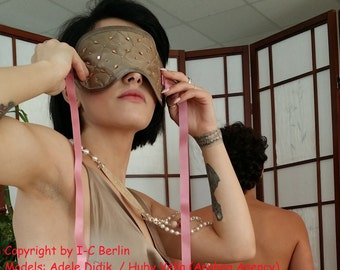 Lingerie Set Sleep mask quilted with beads, fashion  silk, pure luxury for your sleeps and games, blindfold. Handmade.silk1