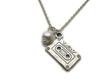 Cassette Tape Necklace Glass Pearl Necklace Birthstone Mixed Tape Necklace Music Necklace Cassette Necklace Mixed Tape Jewelry Music Jewelry