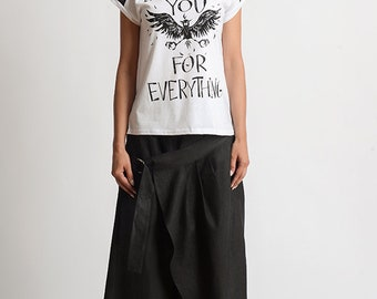 NEW Long Loose Linen Pants/Asymmetric Maxi Pants/Black Wide Leg Trousers/Long Maxi Pants/Extravagant Casual Linen Pants/Everyday Black Pants