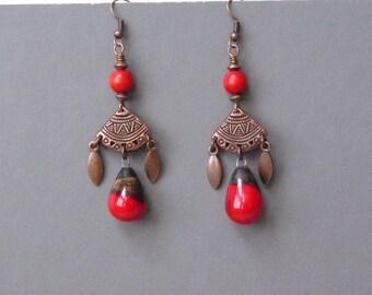 Boho Earrings, Bohemian Earrings, Southwestern Jewelry, Hippie Jewelry, Ethnic Earrings, Oriental Earrings, Handmade, Gift for Her