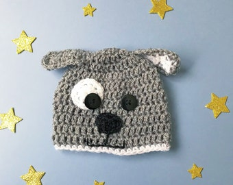Dog beanie hat! Crochet puppy hat, with eyes and ears, for all ages!