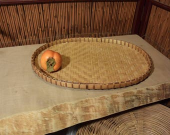 Vintage Chinese Flat Oval Bamboo Basket