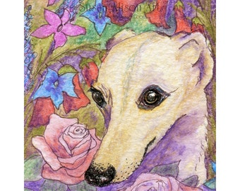 Whippet greyhound dog print 5x7 8x10 11x14 lurcher sighthound flowers floral roses penstemon garden from a Susan Alison watercolor painting