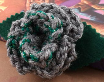 Crocheted Rose Bar Pin - Gray and Sparkly Green (SWG-PS-HWSL01)