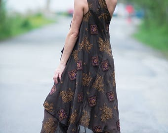 Maxi Dress With Pants, Women Set, Chiffon Dress, Elegant Dress, Long Brown Dress, Ladies Dress, Summer Dress, Off Shoulder Dress - SE0656CH