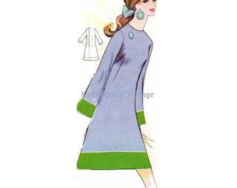 Plus Size (or any size) Vintage 1969 Dress Pattern - PDF - Pattern No 174 Ella
