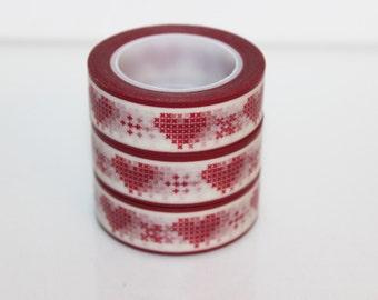 Masking tape heart red