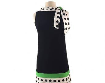 Vintage 60s black dress/ white satin trim with polka dots/ preppy mod dress/ white green detail black dress/ bow collar/ Twiggy dress