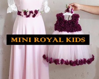 MOMY & I COLLECTION : Mother and daughter handmade flower Pink and Purple dress