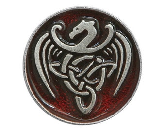 2 Celtic Dragon 13/16 inch ( 21 mm ) Pewter Buttons Red Background